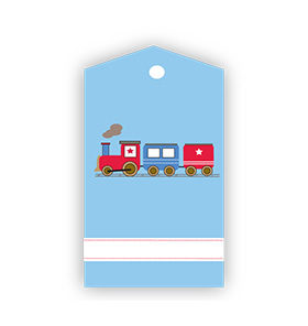 Train on Tracks Blue Gift Tags