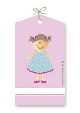 Blue Dress Girl Gift Tags