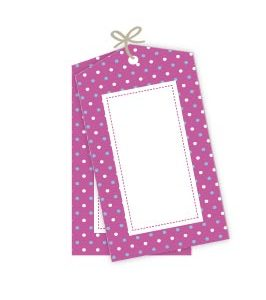 Blue & White Polka dot on Pink Gift Tags