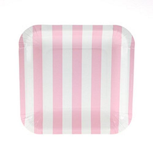 Candy pink stripe paper plates Sambellina