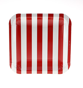 Candy red striped paper plates