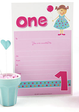 One Girl 1st Birthday Party Invitations