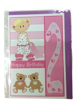 2nd Happy Birthday Pink Girl Greeting Card