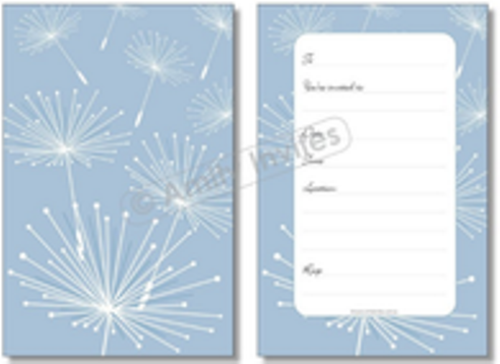 Silver Dandelion Make a Wish Anniversary Invitations