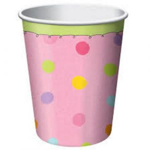 pink rainbow dots paper cups