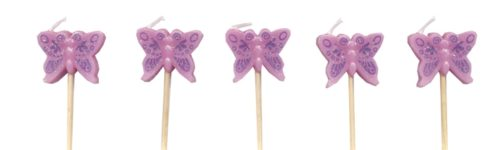 Pink sparkly butterfly candles