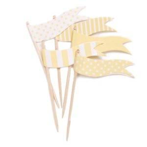 Yellow spot and stripe cupcake topper flags