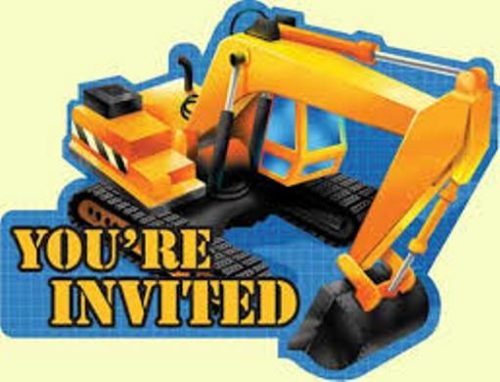 Under Construction Building Party Invitations