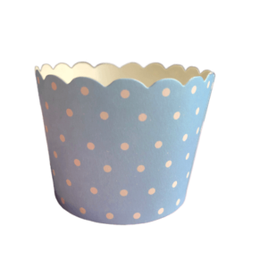 Baby blue polka dot baking cups