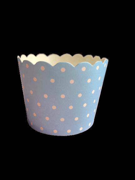 Baby blue polka dot baking cups