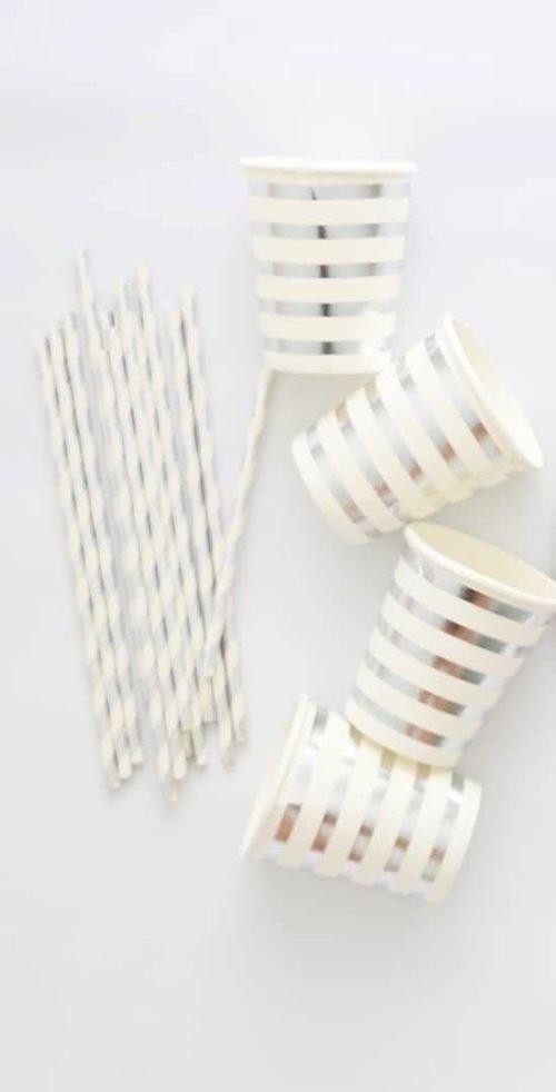 Silver striped Paper cups