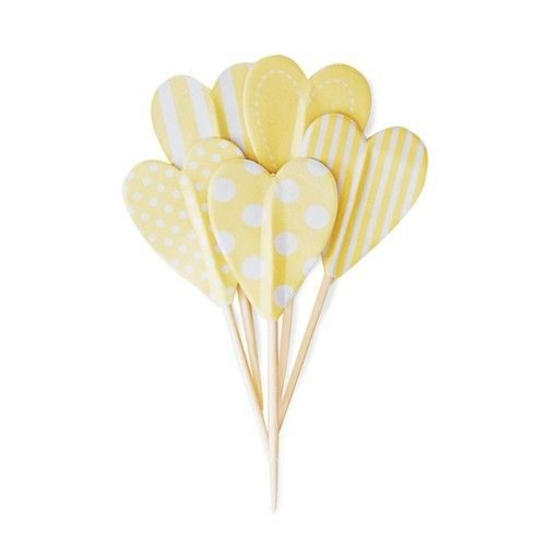 Yellow polka dot stripe heart cupcake toppers