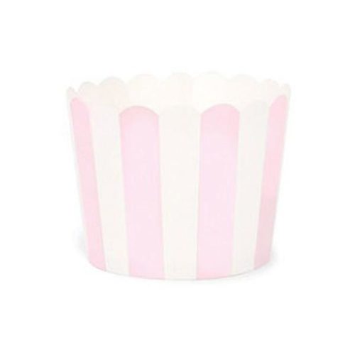 Baby Pink striped baking cups
