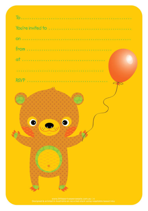 Brown Teddy Party Invitations