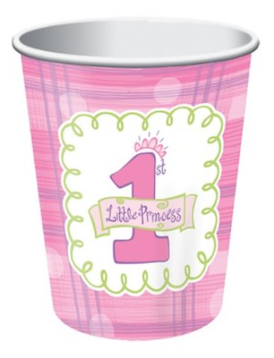 Pink little princess paper party cups