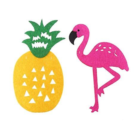 Pineapple Flamingo felt pieces for garland
