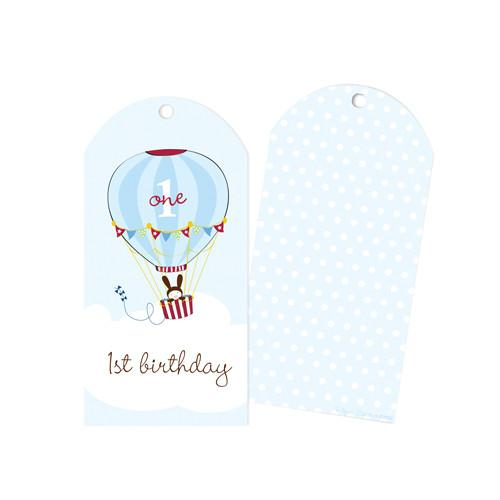 1st Birthday Blue Hot Air Balloon Party Bag Gift Tags