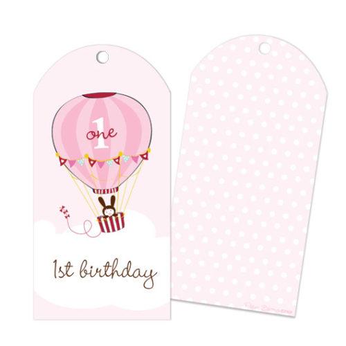 1st Birthday Pink Hot Air Balloon Party Bag Gift Tags