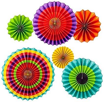 rainbow paper fans