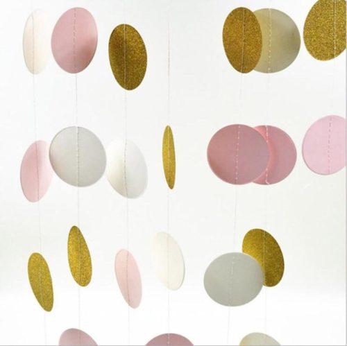 pink white gold dots garland