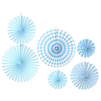 blue paper fans