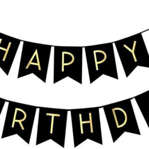 Black Happy Birthday Bunting