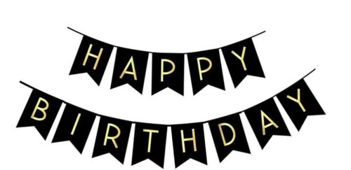 Black Happy Birthday Bunting
