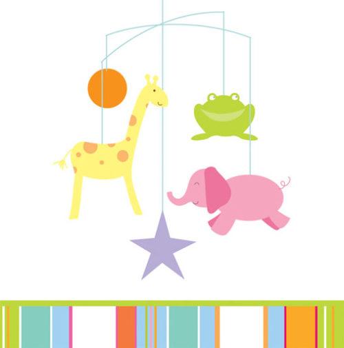 Baby shower animal mobile napkins