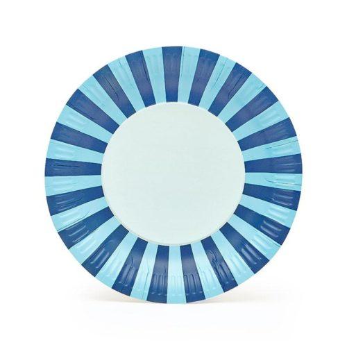 Blue striped paper plates