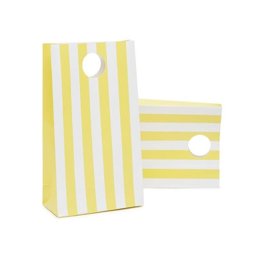 yellow striped paper party bags