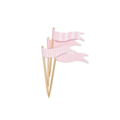 pink flag cupcake toppers