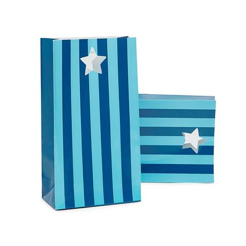 Blue Striped Paper Party Bags