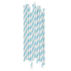 pale blue striped paper straws