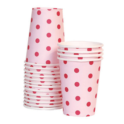 pink on pink polka dot paper cups