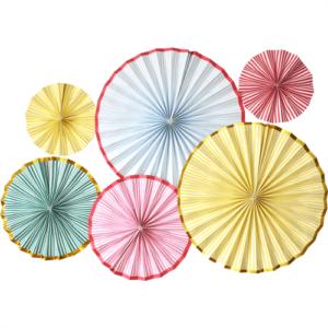 Pastel paper fans set of 6