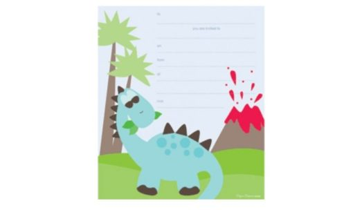 Dinosaur Volcano Island Party Invitations