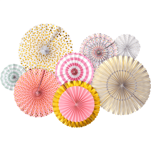 Pink and gold paper fans set