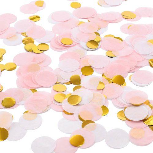 pink gold white confetti