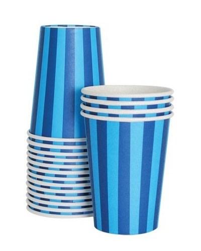 dark blues striped paper cups