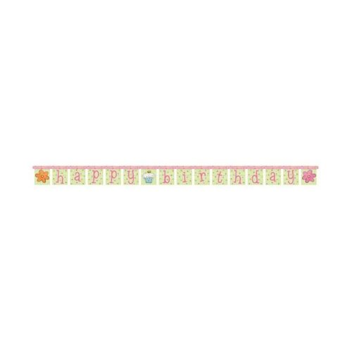 Slumber Party Sleepover Dots Pink Happy Birthday Jointed Banner