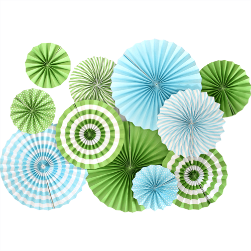 green and blue striped paper fans