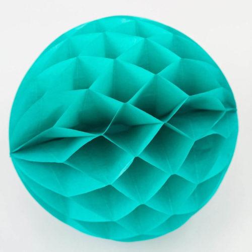 Teal blue tissue honeycomb ball