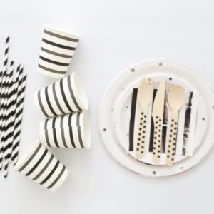 Silver Polka Dot Black tableware set