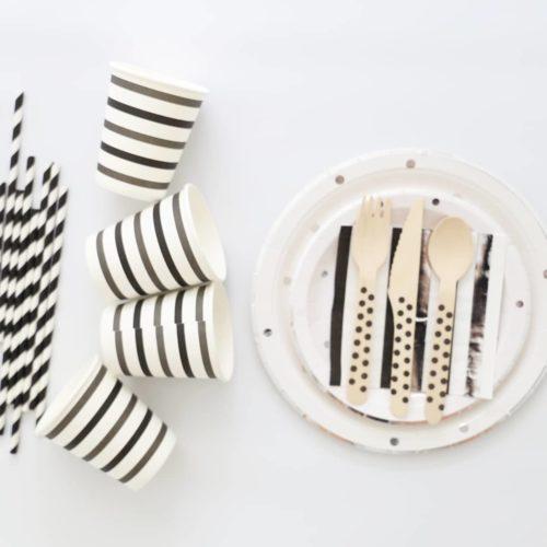 Silver Polka Dot Black tableware set