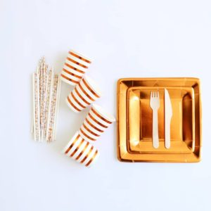 Copper paper tableware set