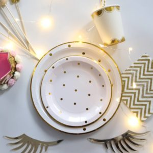 Gold Polka Dot tableware set