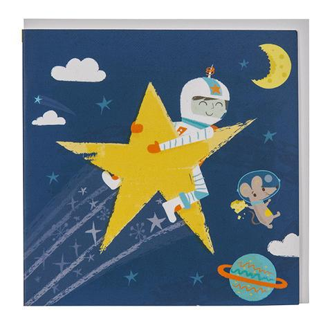Astronaut Shooting star Greeting Card