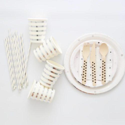 Silver Polka Dot tableware set