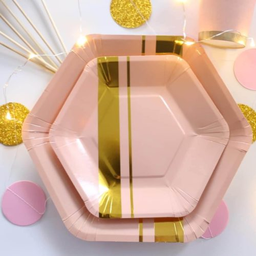 Pink Gold Striped Tableware Set