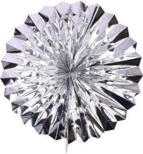 Silver foil paper fan
